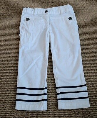 Junior Gaultier Couture 4 years Slim Sailor Capri Pants White Navy Stripe $170