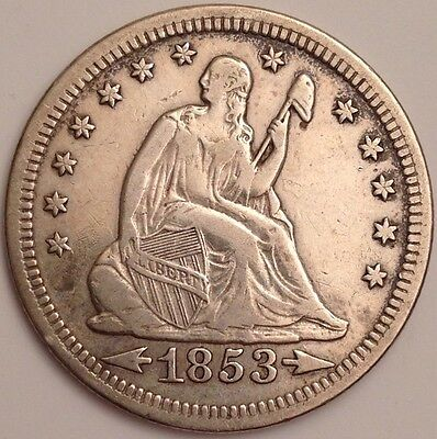 1853 Seated Liberty Silver Quarter Dollar ~ Arrows & Rays ~ Fantastic Devices!!