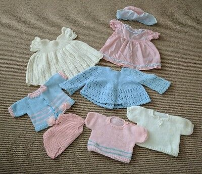 "Vtg 50s 60s Baby Doll Clothes Lot 15"" 16"" Crochet Knit Dress Jacket Sweater Hat"