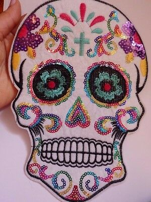 3 extra large sequin patches sugar skull patch applique iron on sew on motif -2