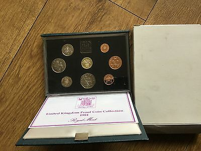 Royal Mint United Kingdom 1984 Proof coin collection presented in a green case