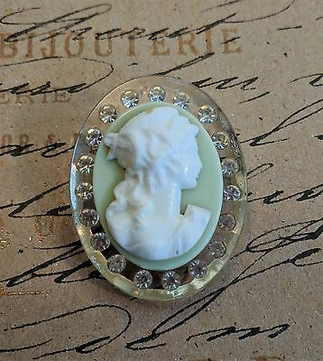 Vtg 1930's Victorian Revival Celluloid and Lucite Cameo Pin Crystal Rhinestone