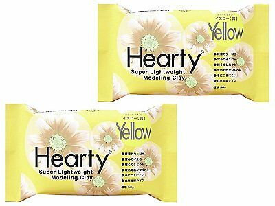 PADICO Hearty Clay Color Super Light weight Modeling Clay 50 g × 2 Pieces Yellow