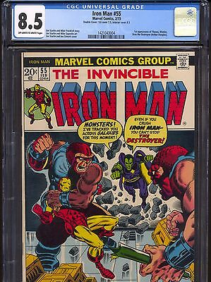 Iron Man #55 (1973)~1st Thanos & Drax app.~Jim Starlin~CGC 8.5 Double Cover OW/W