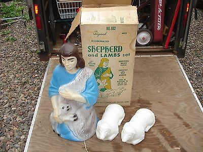 Vintage Beco Shepherd with lambs blowmold Christmas blow mold Nativity in box