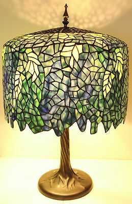 """Tiffany Style Stained Glass Blue Wisteria Table Lamp 18"""" Shade Handcrafted New"""