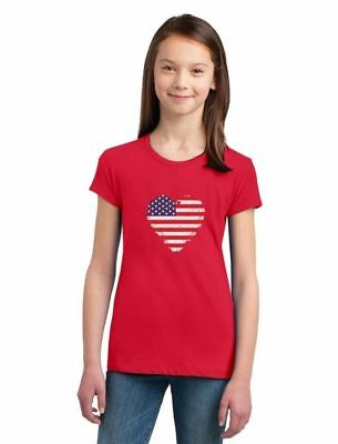 Love USA  4th of July American Heart Flag Girls' Fitted Kids T-Shirt Gift