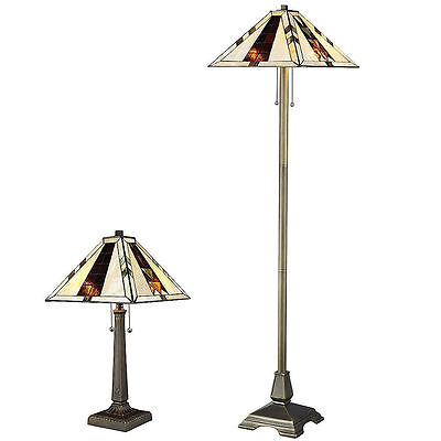 Tiffany Style Stained Cut Glass Brown Mission Lamp Set Handcrafted New