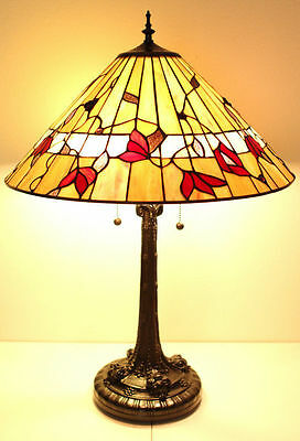 """Tiffany Style Stained Glass Amber Spring Blossom Table Lamp 2 Light 18"""" Shade"""
