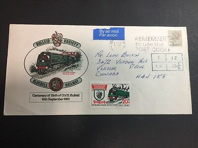 RARE Label BULLEID BLUEBELL RAILWAY with Great Britain Machin (MH94?) on Cover