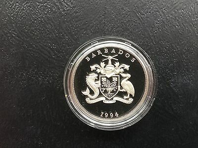 1994 BARBADOS SILVER PROOF CROWN COIN 5$  28.28g QUEEN MOTHER