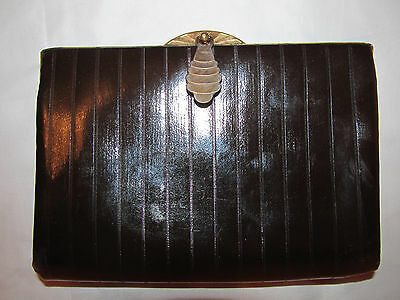 vintage 30's ART DECO dark brown polished coated canvas evening clutch purse