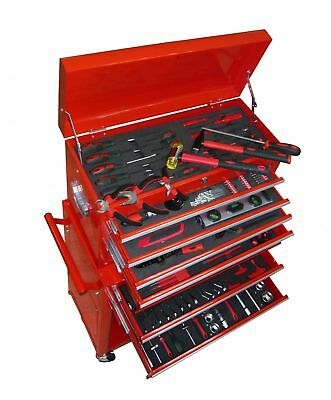vidaXL Tool Chest Cabinet Box Trolley 7 Drawers Red Roller Unit Toolbox