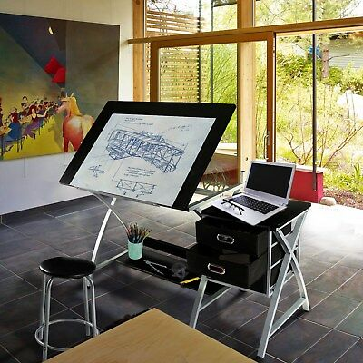 Adjustable Drafting Craft Design Drafting Drawing Table Station Art With Stool