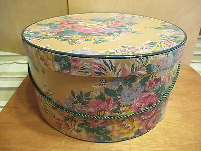 """Hat Box 14 x 7 1/4"""" Rope Hdl Tan Beige Pink Yellow Roses Vintage   a3"""
