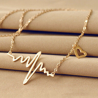 NEW Heartbeat Pendant Heart Charm Gold Silver Necklace Chain Women Jewelry Gift