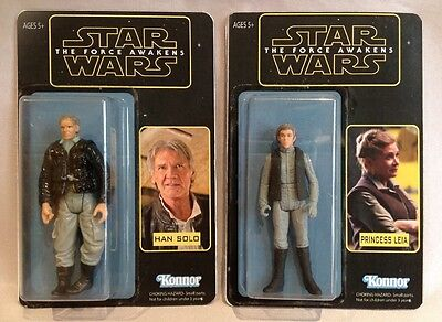 STAR WARS: The Force Awakens Custom Made Han and Leia 3.5 inch Figures Set.