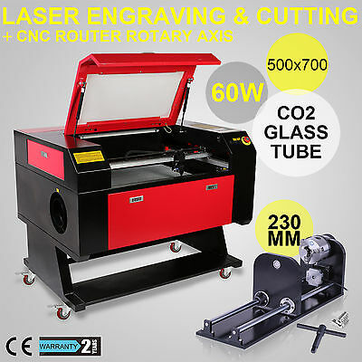 60W Laser Engraver Rotary Axis 230Mm Track Co2 Carving Durable Product Brand New