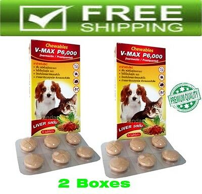 2X V Max P6000 Chewable Liver Flavor For Tick  Flea Control Cats  Dogs 10-77 Lbs