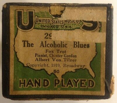 "US Music Co Piano Player Roll 29546 ""The Alcoholic Blues"" Fox Trot VINTAGE 1919"