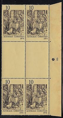 1974 10c Christmas right plate/perf pip block number 8, mnh tone