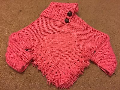 BNWT Girls Pink Knitted Next Poncho 3-4 Years