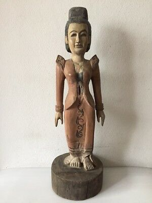 Antique Burmese lady traditional wood carved figure