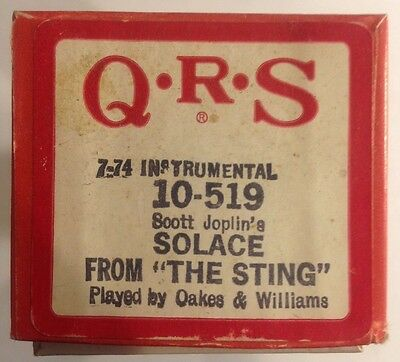 QRS 10-519 Scott Joplin's SOLACE from THE STING by Oakes & Williams VINTAGE 1974