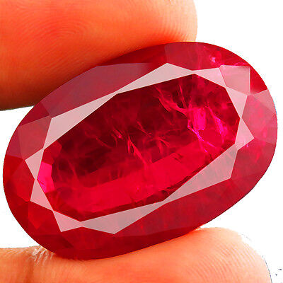 61.35ct BIG RARE Lab-created pigeon blood RUBY CHATHUM Induce Inclusion 10.5x30
