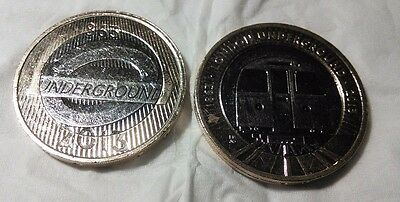 Rare 2013 Two Pound Coin Set Of 2, London Underground Train & Roundel