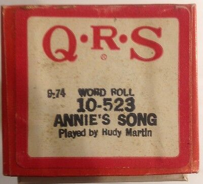"""QRS Word Roll 10-523 """"Annie's Song"""" Played by Rudy Martin VINTAGE 1974"""