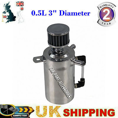 "UK 0.5L 13mm 1/2"" Inlets/Outlet OIL BREATHER CATCH CAN TANK RESERVOIR+FILTER PRO"