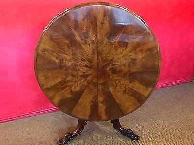 William Iv Burr Walnut Circular Table Professionally Hand French Polished