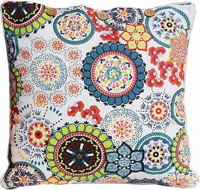 Cushion Cover Wildflower Teal Blue Green Cotton Sofa Throw Pillow Daybed Case