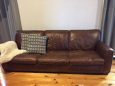"""Freedom """"Hermitage"""" 3 Seater Leather Couch RRP $3000"""