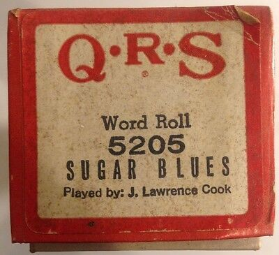 """QRS Word Roll 5205 """"Sugar Blues"""" Fox Trot Played by J Lawrence Cook VINTAGE"""