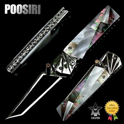P01238 Folding Knife 440C Steel Blade Black & White Pearl / Ss. Handle Posiri