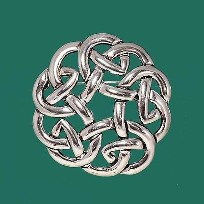 Silver Plated Celtic Knot Scottish Irish Dancing Scarf Pin Brooch Pendant