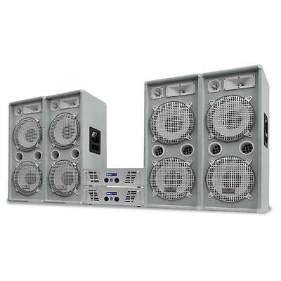 "DJ PA PRO SYSTEM WHITE STAR SERIES ""ARTIC ICE PRO"" 4000W 4 x SPEAKER 2 x AMP SET"