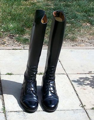 Brogini Mens Black Leather Long Riding Boots Made In Italy