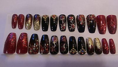 24 Hand Painted Full False Nails Coffin Design Black Red And Gold With Glitter A