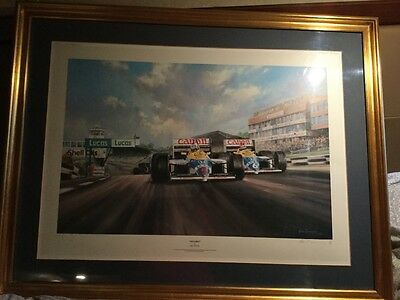 True Brit Nigel Mansell OBE Alan Fearnley F1 Signed Limited Framed Print # 779