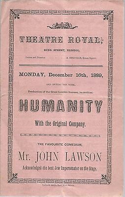 Theatre Royal, Bristol, 1889. Humanity, re Grace Darling.