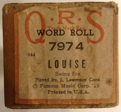 QRS Word Roll 7974 LOUISE Swing Fox by J Lawrence Cook VINTAGE 1929