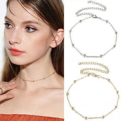Women Gold Silver Simple Beaded Choker Necklace Satellite Chain Del Minimal J1R7