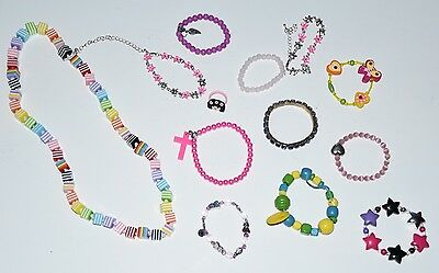 Girl's Jewellery Collection - Necklace, 1 Ring & 11 Bracelets - EUC