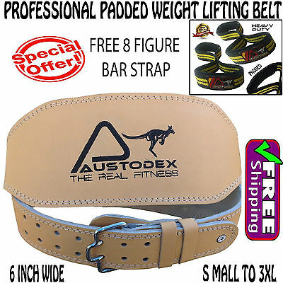 """6""""back support Weight lifting bodybuilding weightlifting Leather Belt & barstrap"""