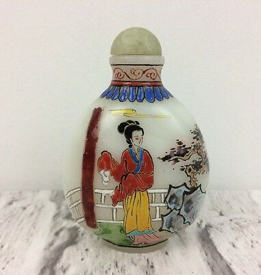 Chinese Hand Painted Jade Perfume Or Snuff Bottle Scenes Of Geisha And Pagoda.