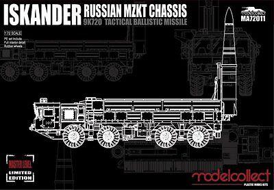 TOP MODEL Russian MZKT Chassis Iskander 9K720 Tactical Ballistic Missile IN 1/72