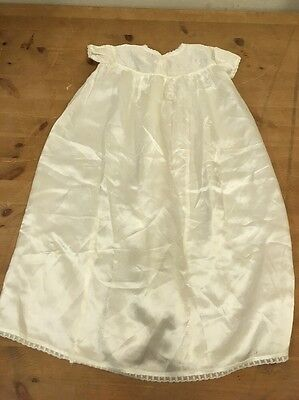 Vintage Cuddly Antique Ivory Cream Satin Embroidered Christening Gown